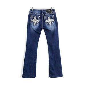 Miss Me signature boot embellished pockets cross